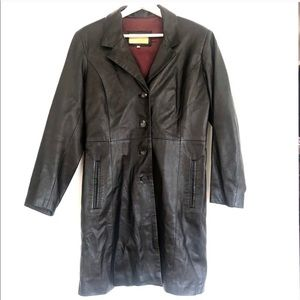 2001 Italian Made Black Soft Leather Trench Coat